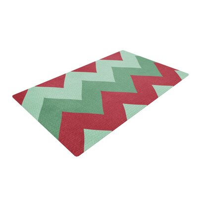 Catherine McDonald Holiday Chevrons Green/Red Area Rug
