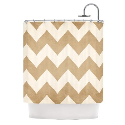 Catherine McDonald Biscotti and Cream Chevron Shower Curtain