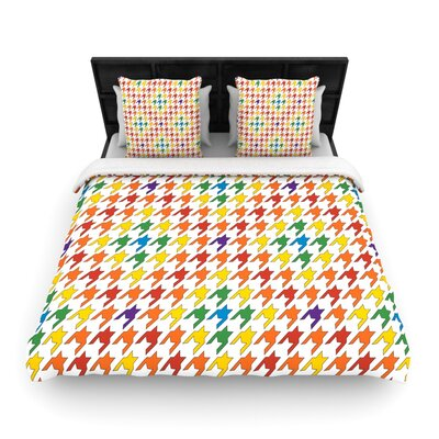 Houndstooth Woven Comforter Duvet Cover Size: Full/Queen, Color: Rainbow
