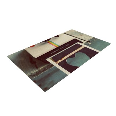 Cristina Mitchell Polaroid Love Camera Teal Area Rug Rug Size: 2 x 3