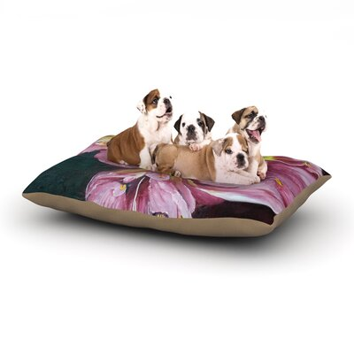 Cathy Rodgers Pink Day Lily Blooms Flower Dog Pillow with Fleece Cozy Top Size: Small (40 W x 30 D x 8 H)