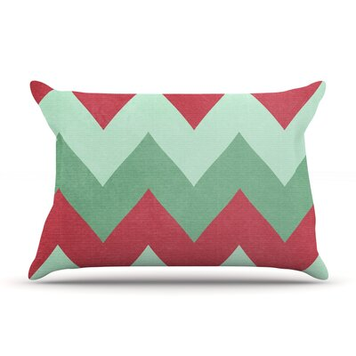 Holiday Chevrons by Catherine McDonald Featherweight Pillow Sham Size: Queen, Fabric: Woven Polyester