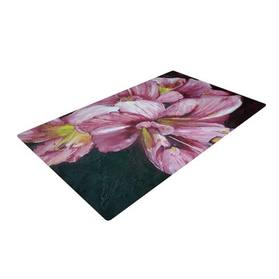 Cathy Rodgers Pink Day Lily Blooms Flower Pink Area Rug Rug Size: 2 x 3