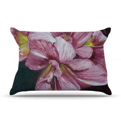 Pink Day Lily Blooms by Cathy Rodgers Featherweight Pillow Sham Size: King, Fabric: Woven Polyester