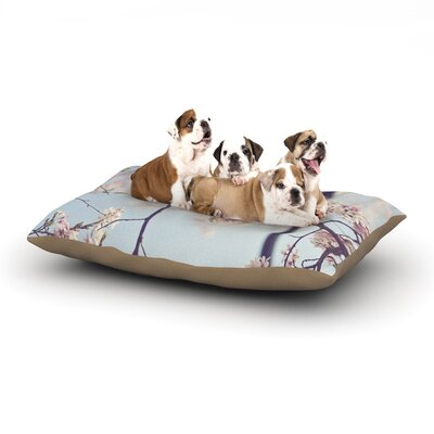 Catherine McDonald Walk with Me Cherry Blossom Dog Pillow with Fleece Cozy Top Size: Large (50 W x 40 D x 8 H)