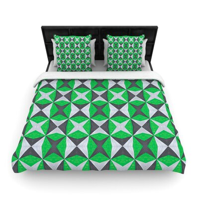 Silver and Green Abstract Woven Comforter Duvet Cover Size: King