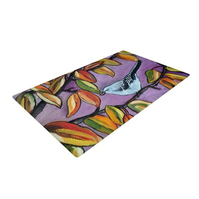 Cathy Rodgers Mockingbird Purple/Orange Area Rug Rug Size: 4 x 6
