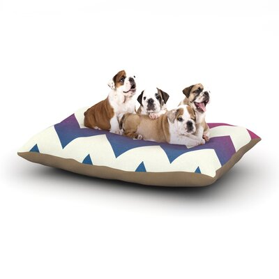 Catherine McDonald Fade to Blue Chevron Dog Pillow with Fleece Cozy Top Size: Small (40 W x 30 D x 8 H)