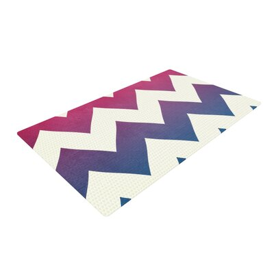 Catherine McDonald Fade to Blue Chevron Blue Area Rug Rug Size: 4 x 6