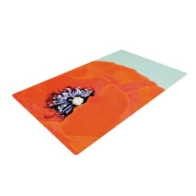 Christen Treat Vintage Poppy Flower Orange Area Rug Rug Size: 4 x 6