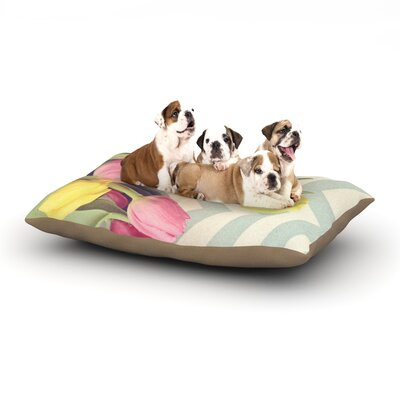 Catherine McDonald Tulips and Chevrons Dog Pillow with Fleece Cozy Top Size: Large (50 W x 40 D x 8 H)