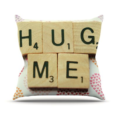 Hug Me by Cristina Mitchell Heart Text Throw Pillow Size: 26 H x 26 W x 1 D
