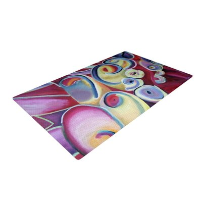 Cathy Rodgers Groovy Rainbow Flowers Pink Area Rug
