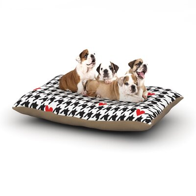 Empire Ruhl Spacey Houndstooth Heart Dog Pillow with Fleece Cozy Top Size: Large (50 W x 40 D x 8 H)