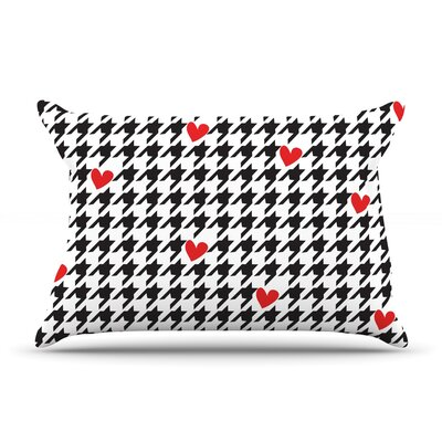 Spacey Houndstooth Heart by Empire Ruhl Featherweight Pillow Sham Size: Queen, Fabric: Woven Polyester