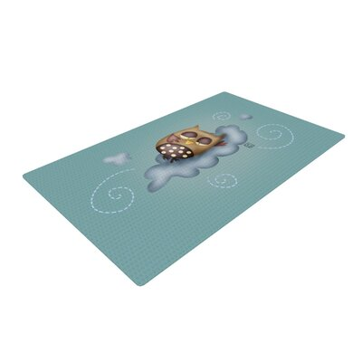 Carina Povarchik Sleepy Guardian Owl Blue Area Rug Rug Size: 4 x 6