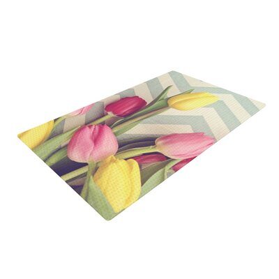 Catherine McDonald Tulips and Chevrons Pink Area Rug Rug Size: 4 x 6