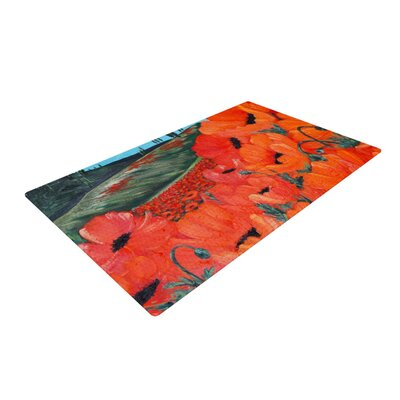 Christen Treat Poppies Red/Blue Area Rug Rug Size: 2 x 3
