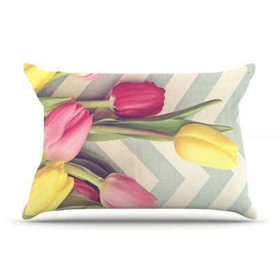 Tulips and Chevrons by Catherine McDonald Featherweight Pillow Sham Size: King, Fabric: Woven Polyester