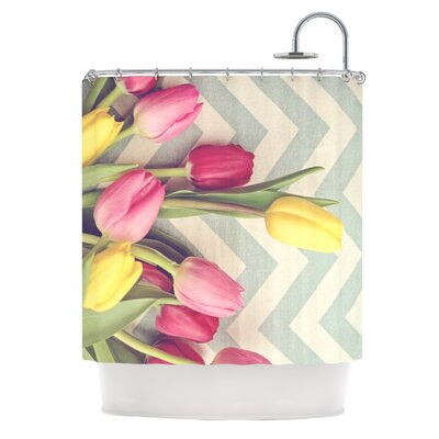 Catherine McDonald Tulips and Chevrons Shower Curtain