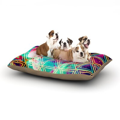 Alveron 'Neon Geo Galaxy' Dog Pillow with Fleece Cozy Top Size: Large (50