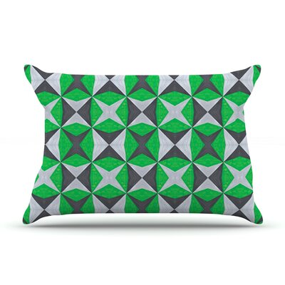 Silver and Green Abstract by Empire Ruhl Featherweight Pillow Sham Size: King, Fabric: Woven Polyester