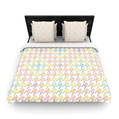 Houndstooth Woven Comforter Duvet Cover Color: Pastel, Size: King