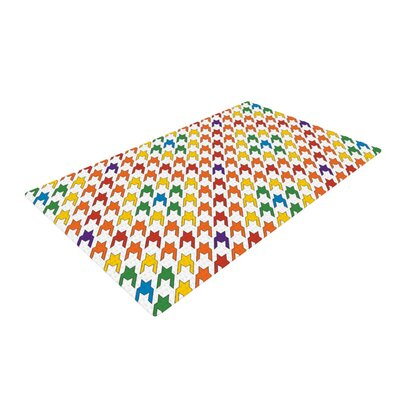 Empire Ruhl Houndstooth Orange/Green Area Rug Rug Size: 2 x 3