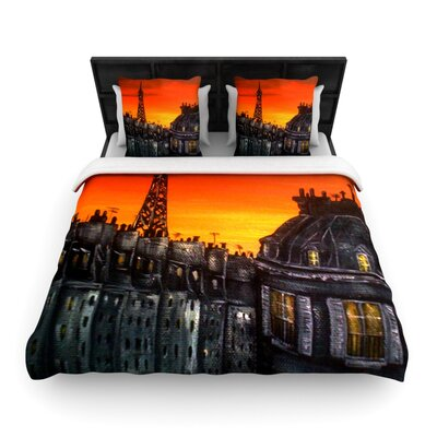 Paris Woven Comforter Duvet Cover Size: King