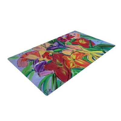Cathy Rodgers Matisse Styled Lillies Rainbow Flower Green/Red Area Rug Rug Size: 2' x 3'
