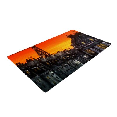 Christen Treat Paris Orange/Black Area Rug Rug Size: 4 x 6