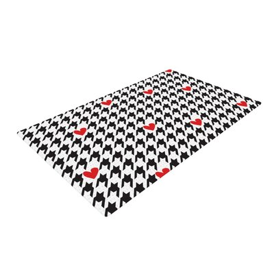 Empire Ruhl Spacey Houndstooth Heart Black/White Area Rug Rug Size: 4 x 6