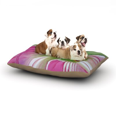 Cathy Rodgers Pink and Green Flower Dog Pillow with Fleece Cozy Top Size: Large (50 W x 40 D x 8 H)