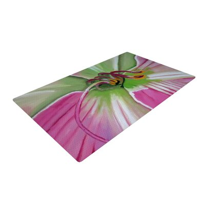 Cathy Rodgers Pink and Green Flower Pink Area Rug Rug Size: 4 x 6