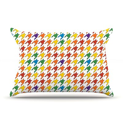 Empire Ruhl Pastel Houndstooth Pillow Case Color: Rainbow