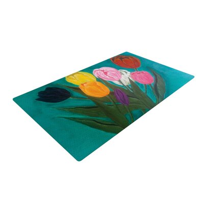 Christen Treat Tulips Rainbow Flower Blue Area Rug Rug Size: 4 x 6