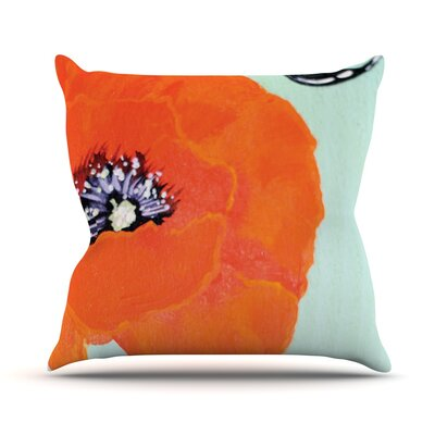 Vintage Poppy by Christen Treat Flower Throw Pillow Size: 26'' H x 26'' W x 1
