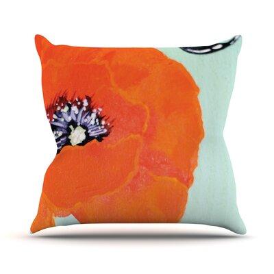 Vintage Poppy by Christen Treat Flower Throw Pillow Size: 26 H x 26 W x 1 D
