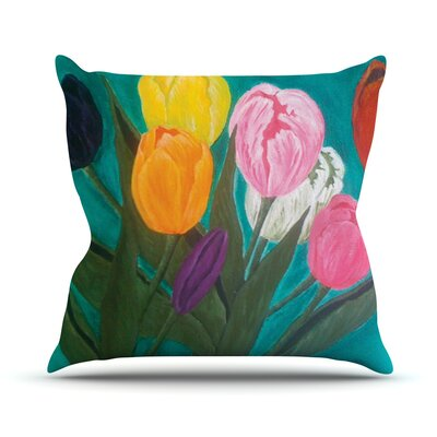Tulips by Christen Treat Rainbow Flower Throw Pillow Size: 26 H x 26 W x 1 D