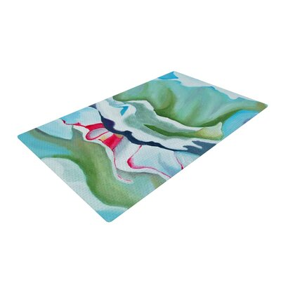 Cathy Rodgers Peony Shadows Flower Green Area Rug Rug Size: 2 x 3