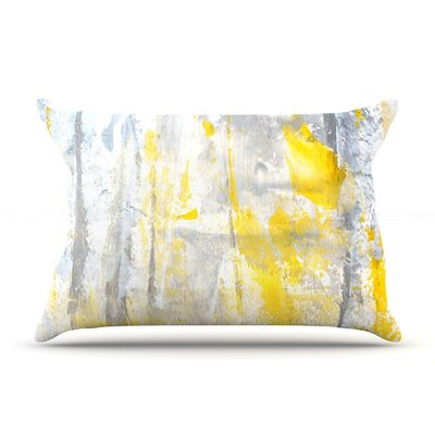 CarolLynn Tice Abstraction Grey Yellow Featherweight Sham Size: Queen, Fabric: Woven Polyester