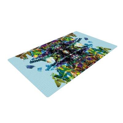 Danii Pollehn Butterfly Blue/Rainbow Area Rug Rug Size: 2 x 3
