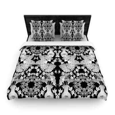 Versailles Black Woven Comforter Duvet Cover Size: Full/Queen