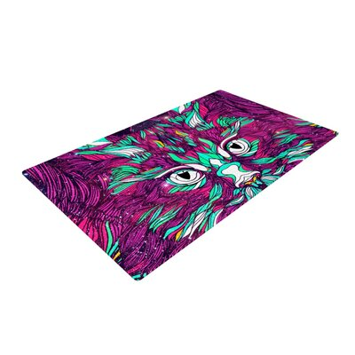 Danny Ivan Space Cat Purple/White Area Rug Rug Size: 2 x 3