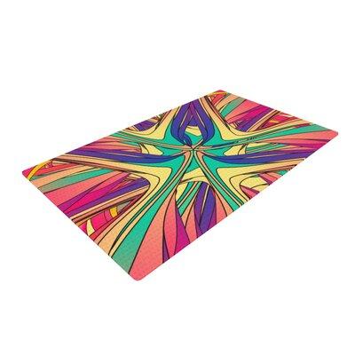 Danny Ivan Veins Rainbow Abstract Pink/Purple Area Rug