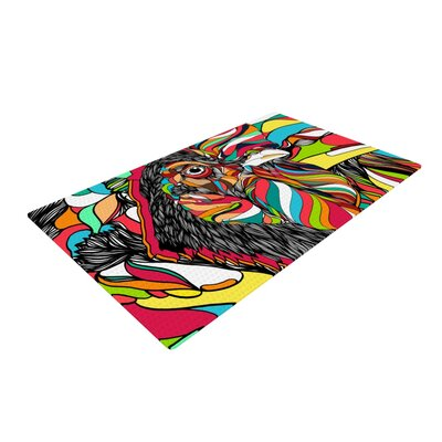 Danny Ivan Tropical Cock Black/Yellow Area Rug Rug Size: 4 x 6