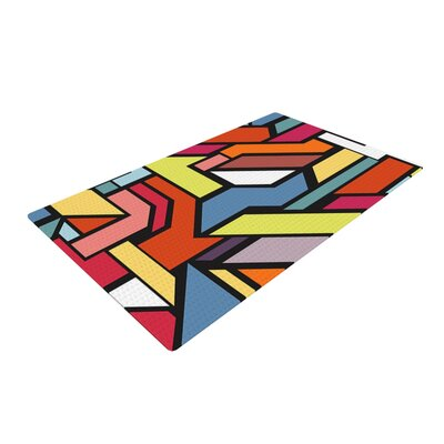 Danny Ivan Abstract Shapes Orange/Yellow Area Rug Rug Size: 2 x 3