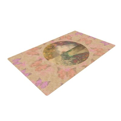 Deepti Munshaw Rebirth Butterfly Circle Gray/Pink Area Rug Rug Size: 2 x 3