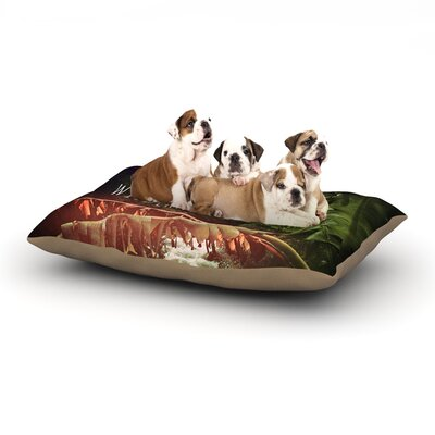 Deepti Munshaw Escape to Wilderness Forest Quote Dog Pillow with Fleece Cozy Top Size: Small (40 W x 30 D x 8 H)