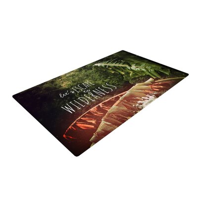 Deepti Munshaw Escape to Wilderness Forest Quote Red/Green Area Rug Rug Size: 4 x 6